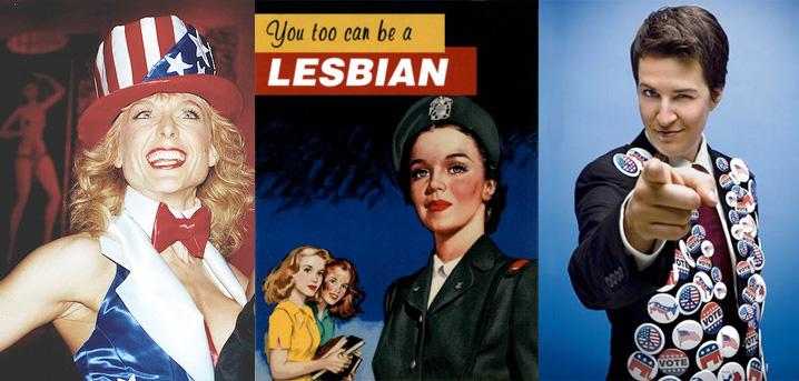 porn queen Nina Hartley, lesbian recruiting, political hottie Rachel Maddow